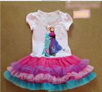 TuTu Summer TUTU stockings EMS FEDEX discount summer dress 2014 baby girls dresses frozen Princess Gauze Anna Elsa kid apparel 14MAY188
