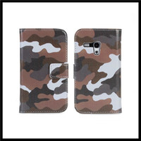 For Samsung PU No Camo prints leather wallet stand case for samsung galaxy s3 mini i8190 100pcs   lot + Free DHL