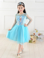 Wholesale 2014 Hot Sale Cartoon Frozen Girl Princess Dress Baby Girl Net Yarn Dresses Kids Frozen Gauze Dress GX311