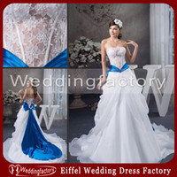 A-Line blue and white wedding dress - 2014 Hot Sale Blue and White Wedding Dresses A Line Strapless Sheer Lace Organza Zipper Back Bridal Gowns with Big Bow and Sash