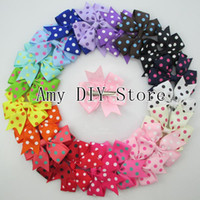 Acrylic,Polyester   beautiful hairbows - Hot selling polka dot ribbon bows Boutique hairbows Kids hair accessories WITH clip beautiful bows for baby girls HJ025 cm