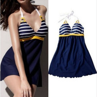 Women Swimdress Striped Details about Women Navy Sexy Swimwear push up Stripe swimming Skirts Swimdress Bikini