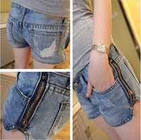 Wholesale New fashion spring and summer women s short jeans zipper shorts hot s Low rise jeans Washed blue