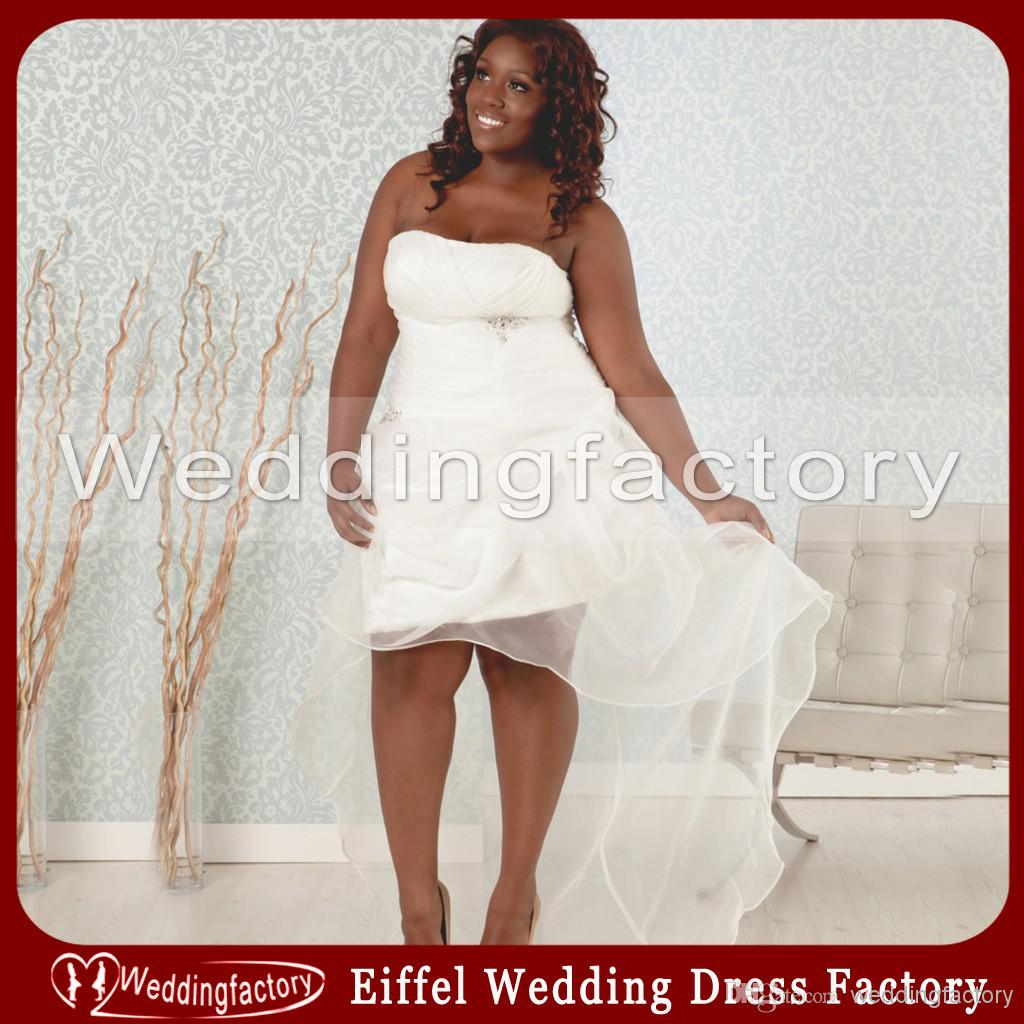 Summer plus size short wedding dresses a line strapless for Plus size wedding dresses size 32 and up