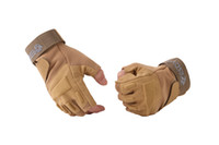 Wholesale Great Tan Half finger Military Tactical Airsoft Hunting Cycling Riding Gloves