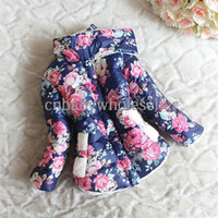 Wholesale 2014 Winter New Arrival Children Coat For Girls Flower Pattern Synthetic Fabrics Thick Hoodies Girls Fashion Clothes OC40509