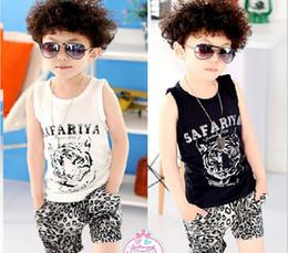 Wholesale 2014 Summer Children Hiphop Clothing Boy Suit Korean Caroon Tiger Cotton Vest Leopard Shorts Kids Causal Set set GX315