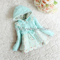 Wholesale Fashion Designer Girls Winter Coat Cotton Blend Hoodies With Floral And Lace New Arrival Kids Wear Hot Seller OC40509