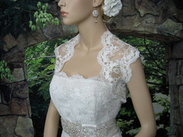 Wholesale Ivory Sleeveless Bridal Embroidered Lace Applique Wedding Bolero Jacket Hot Sale Cheap