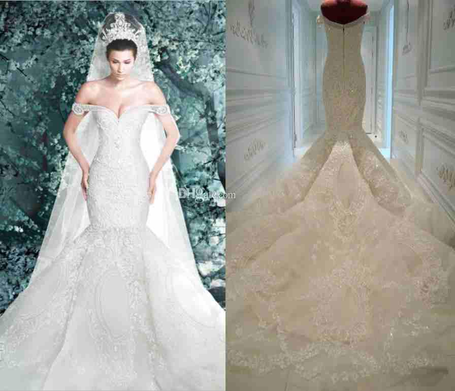 Michael Cinco Sexy Wedding Dresses 2015 Luxury Lace Off Shoulder ...