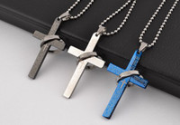 Wholesale New Titanium stainless steel bible cross Pendant Necklaces Fashion Men Jewelry Mix color