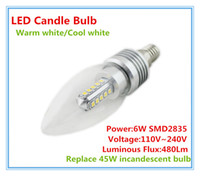 Wholesale 6W SMD2835 E14 E12 LED Candle Bulb Lamp for Ceiling Chandelier Light warm white cool white AC V Replace W incandescent bulb