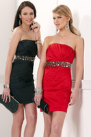 Reference Images Strapless Chiffon Beautiful Women Mini Beaded Cocktail Dresses 2014 Custom Made Strapless Neckline With Black Red Color