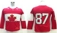 Ice Hockey Boys Full 2014 Winter Olympic Jerseys Kids #87 Crosby Ice Hockey Jersey SZ:S M,L XL able mix any size