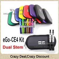 Double Stainless Steel Metal eGo eGo-CE4 Starter Dual Stem Kit E-Cigarette CE4 Atomizer 650mAh 900mAh 1100mAh eGo-T Battery Electronic Cigarette with Zipper Case Package
