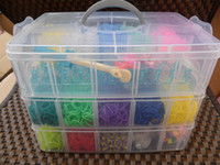 Cord & Wire band bracelet maker - 21 Colors Shimmer n Sparkle Rainbow Loom Kit Cra Z Loom Bracelet Maker clear plastic box for Kids DIY bracelets Loom bands