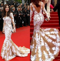 Reference Images Off-the-Shoulder Tulle 2014 Najwa Karam Zuhair Murad Prom Dresses Mermaid Beaded Lace Long Sleeve 70th Annual Golden Globe Awards Celebrity Dress Ke154