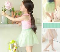 Summer A-Line Knee-Length Summer Children Elastic Belt Solid Mash Skirt Girls Pink Green Layered Yarn Princess Skirt Kids Sweet Gauze Tutu Short Skirt I0914