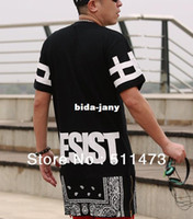 Wholesale 2014 hiphop unisex women men Bandana Print CEASE DESIST rhude Graphic extra long Tee T Shirt Tyga Paisley Side Zip