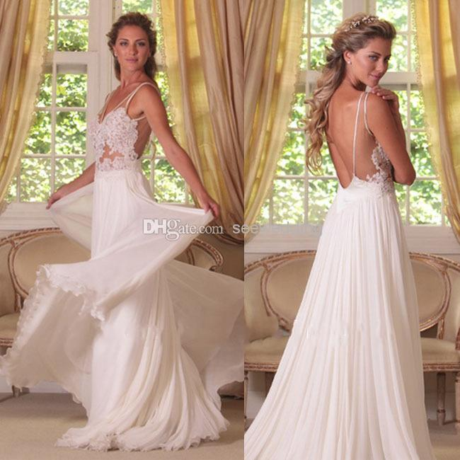 Low Back Flowy Wedding Dress : Sexy low back chiffon wedding dress backless summer gowns