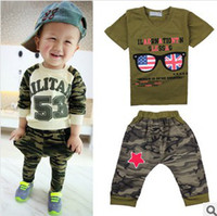 Boy Summer Short 2014 Fashion Handsome Childrens Outfit Camouflage Short Sleeve Casual Set T-shirt And Pants 2 Pieces Set