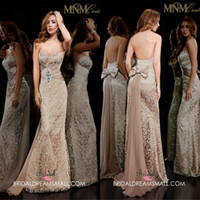 Wholesale 2014 Backless Sexy Chocolate Strapless Mermaid Party Dresses Applique Beading Diamond Bow Sweep Prom Formal Gowns