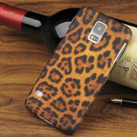 Wholesale Leopard Pattern Transparent Hard PC Back Shell Cover Cell Phone Cases For Samsung Galaxy S5 S V i9600 with opp Bag