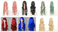 """10 color Long Girl 1 Pc 31"""" 80cm Heat Resistant Bang Long Wavy Curly Cosplay Anime Wigs Party Lot 10 Colors 2014 new arrival free shipping hot sell cos 12"""