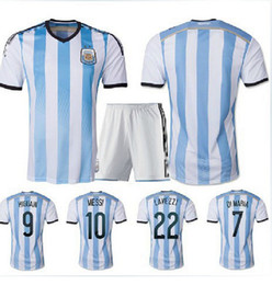 Wholesale thailand quality argentina Soccer Jerseys World Cup MESSI football shirt uniforms free name number and patch by DHL ship