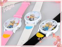 Wholesale Luxury D Eye Despicable Me minion Precious Milk Dad Watches Quartz Wrist Watch with PU Leather Strap