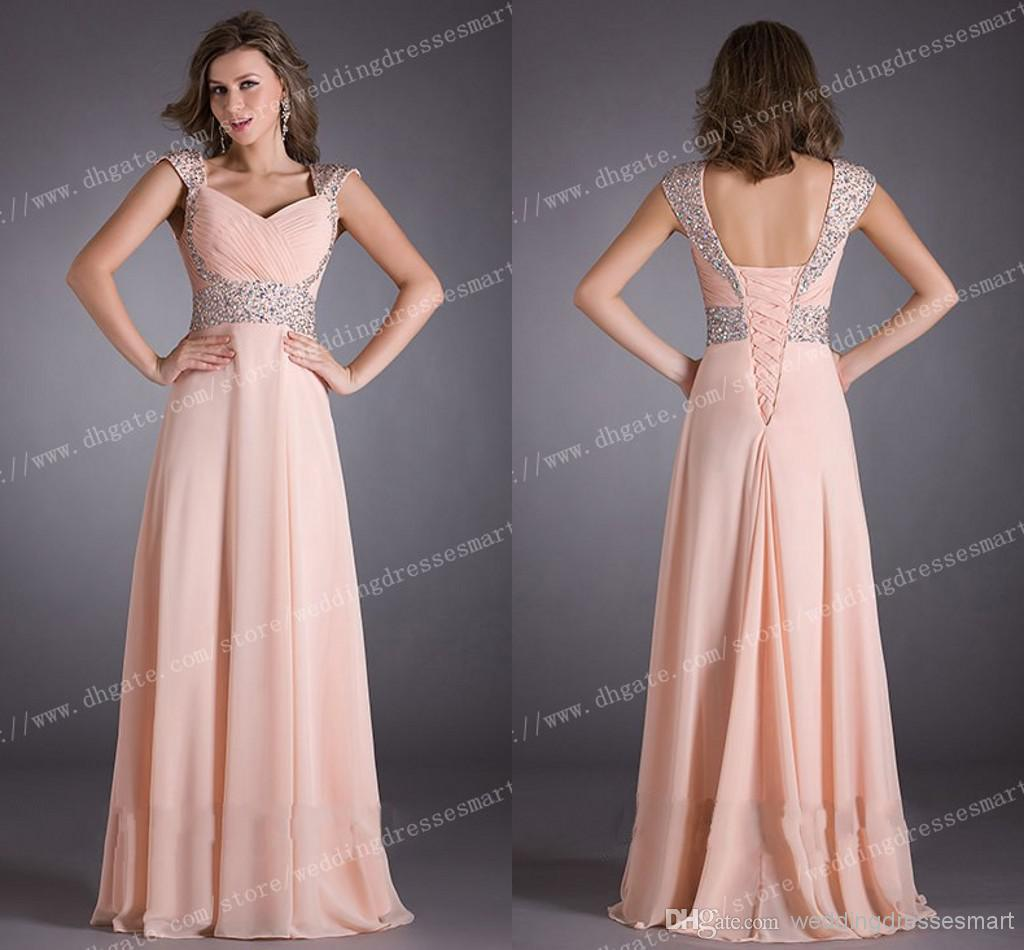 Light Pink Long Bridesmaid Dresses Ruched Bodice Shiny