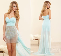 Wholesale Terani Hi Lo Cocktail Dresses Sheath Sweetheart Beaded Sequins Tulle Chiffon Prom Gowns