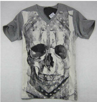 Wholesale New arrival philipp plein men s skull v neck punk Double sided printing short sleeve T shirt
