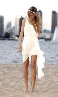 sexy mini wedding dress - 2014 Short Beach Bridal Dresses Scoop Sleeveless Anomalous Skirt Ruffled Chiffon Sheath Bridesmaid Dresses Summer Beach Wedding Dresses Sexy
