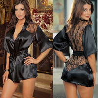 Wholesale New Black Sexy Silk Lace Kimono Dressing Gown Bath Robe Lingerie Nightdress Lingerie Nightwear Underwear G string SV000559
