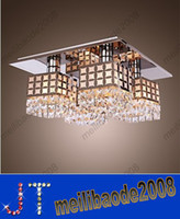 Wholesale Modern Flush Mount Stainless Steel Crystal Chandeliers Ceiling Lamp Pendant Light Lamps Gein Pattern With Lights HSA197