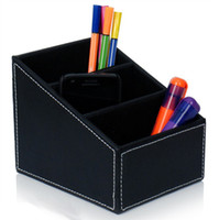 Wholesale PU leather storage box slots for cosmetics remote control stationery