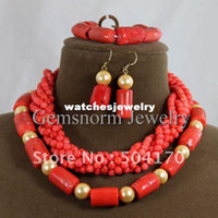 Bracelet,Earrings & Necklace big drum sets - Handmade Drum Coral Jewelry Set Big African Jewelry Beads Set Mix amp Match Style Coral Set Hot Online CNR104