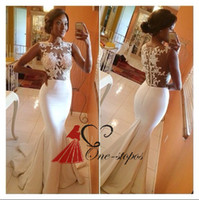 Wholesale 2015 New Hot Sexy Evening Dresses Crew Neck Sleeveless Sheer Illusion Appliqued Lace Mermaid Court Train Formal Hollow Back Prom Gowns