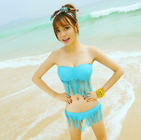 Men Bikinis Dot swimwear 2014 new factory direct promotional tassel solid color simple fitted clothes sexy women bikini two-piece swim