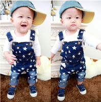 Wholesale Retail pc Baby stars print overalls Kids Casual denim pants Boys Girls jeans Child Suspender trousers Kids clothes