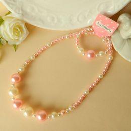 Wholesale 2014 new Children girl necklace suits Baby pearl bracelet necklace Pink white necklace bracelet sets