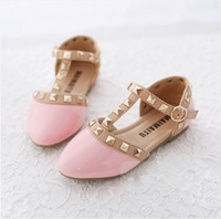 Summer Rivet Pointed Toe Free Shipping 2014 Spring and Summer Princess Patent Rivets kids shoes Low-heel Children shoes girls Wedge Sandals, Red pink white black