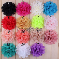 headbands flower Cotton Floral Eyelet Chiffon Flowers For Baby Headbands Girls Head Flower Hair Accessories Stain Mesh Flower Fabric Flowers DIY Photography props 15colors