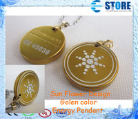 Healthy Necklaces Asian & East Indian Unisex Free Shipping via China Post Air Golden Scalar Quantum Ion Energy Pendant,Increase Energy and Be Good for Body R
