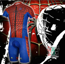 Hot Selling Men's Short Sleeve Cycling Bib Suit Unique Americans SPIDER MAN RED BLUE Bike Jersey + BIB Shorts Plus Size maillot with Gel pad