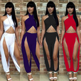 Wholesale Hot Sale Fashion Lady Women s Sexy Suits Jumpsuits Irregular pants Evening Dress Jumpsuit For Club Wear Nightclub party white black blue red