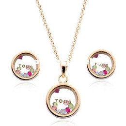 Wholesale Jewelry Roundness Naughty Bear Amore Crystal Rinestone Necklace and Earring Sets K Rose Gold Plated
