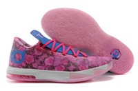 Basketball Flat Unisex Top Qualiy KD VI 6 Aunt Pearl Basketball Athletic Shoes Two-layer Pink Upper Sneaker High-wrapped rubber Sportwear Unisex Size 36-46