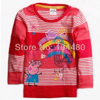 Unisex Summer tops comfy baby girls autumn shirts,fashion peppa pig cartoon kids children full sleeve tees,cute child toddler wear clothes fuchsia